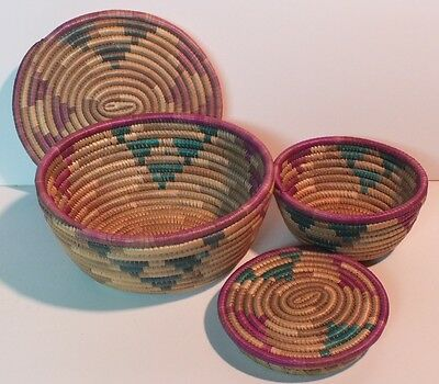 Set of 2 Woven Baskets-Nesting/Covered