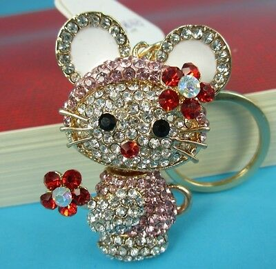 Five Clubs Rabbit New Fashion Lovely Rhinestone Crystal Purse Bag Key Chain Gift