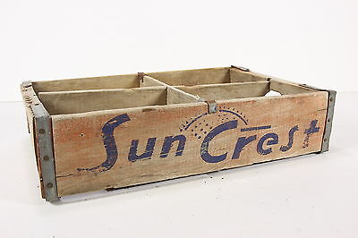 Sun Crest Soda Pop Wooden Crate Bottle Holder Case W/ 4 Sections Rustic Vintage