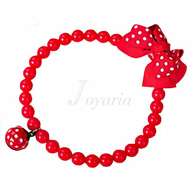 """1pcs Red Jewelry Acrylic  Necklace With Small Bell For Pet dogs 9.84"""""""