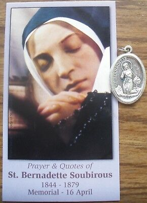 Separated Medal & Quotes Card: Saint St. Bernadette of Lourdes + Apparition