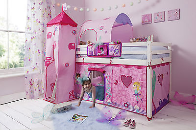 Cabin Bed Mid Sleeper Pine Kids Bed 57 with Fairies Tent 57Fairy