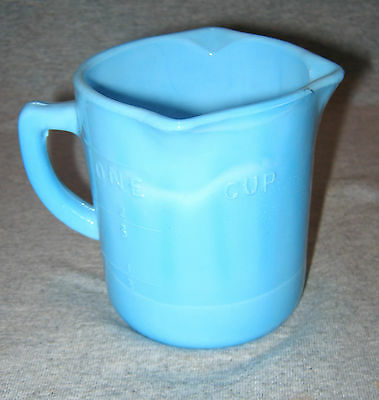 BLUE MILK Glass Measuring Cup 1/3, 1/4, 2 oz Increment Indicator Lines 3 Spout