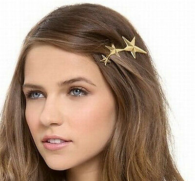 1pc Europe Punk Cool Simple Big Small 3-Stars Golden Alloy Lady HairClip Hairpin