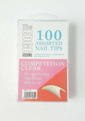 THE EDGE BOX 100 COMPETITION CLEAR WELL-LESS NAIL TIPS acrylic uv gel