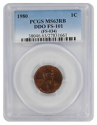 1980 Lincoln Cent MS63RB PCGS Cherrypicker FS-101 Double Die Obverse Red Brown