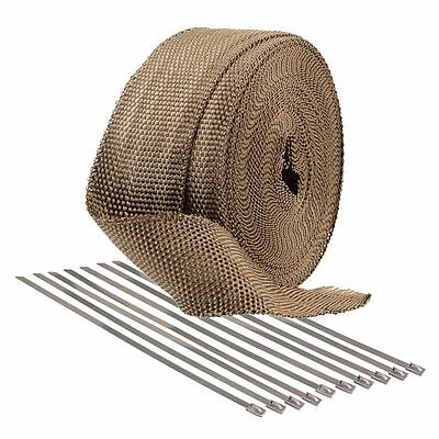 2.5cm x 4.5M Titanium Exhaust Manifold Turbo Heat Wrap Tape Roll & 10 Cable Ties