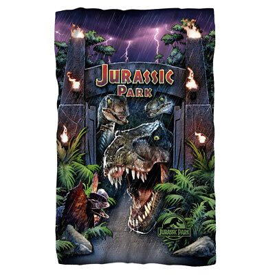 """Jurassic Park Movie Welcome To The Park Licensed Fleece Throw Blanket 30"""" X 60"""""""