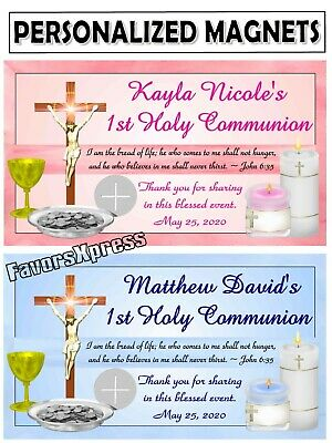 12 FIRST 1st HOLY COMMUNION MAGNETS FAVORS ~ Eucharist & candles