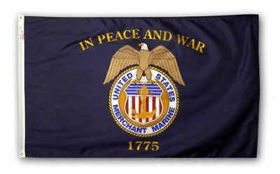 3x5 ft US MERCHANT MARINE FLAG In Peace And War 1775 Outdoor Nylon MADE IN USA