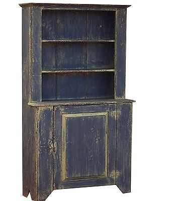 STEP BACK CUPBOARD PAINTED PRIMITIVE HUTCH STEPBACK ANTIQUE REPRODUCTION PINE