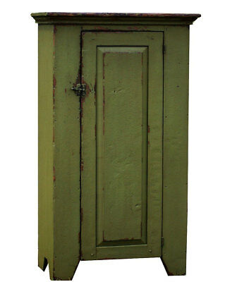 PAINTED COUNTRY DISTRESSED ANTIQUE REPRODUCTION PRIMITIVE CHIMNEY CUPBOARD PINE