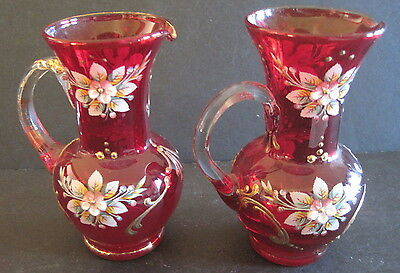 2 Ruby Red Handpainted Small Pitchers Gilt Handles