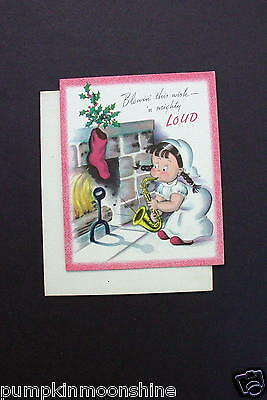 Unused Vintage Norcross Xmas Greeting Card Susie Q Playing Saxaphone by the Fire