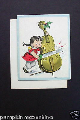 Vintage Unused Norcross Xmas Greeting Card Susie Q Playing the Cello with a Saw