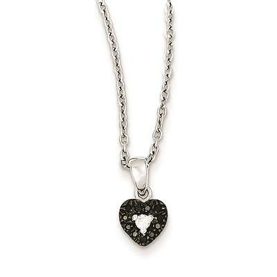 """Sterling Silver White Night Black and White Diamond Heart Pendant Necklace 18"""""""