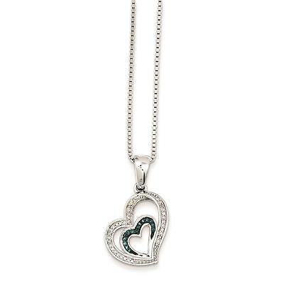 """Ladies Silver Blue and White Diamond Love Heart White Night Pendant Necklace 18"""""""