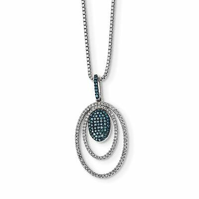 """Ladies SS Rhodium Plated Blue & White Real Diamond Ovals Pendant Necklace 18"""""""