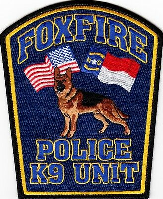 NORTH CAROLINA  -  FOXFIRE   POLICE  DEPARTMENT   K - 9  Patch    ~  NEW STYLE ~