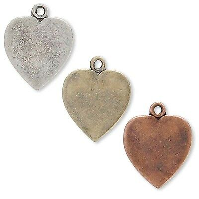 Lot of 10 Textured 11mm 1//2 inch Leaf Drop Charms Plated over Pewter Base Metal