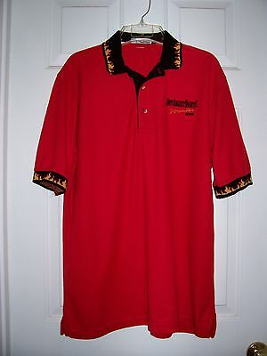 ONE POLO SHIRT SIZE L HOT AUGUST NIGHT ( HOT ROD SHOW RENO ) 2004 RED/BLACK
