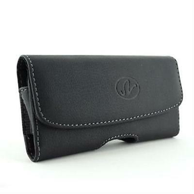Black Horizontal Leather Clip Side Holster Case Pouch For LG Voyager VX10000