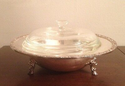 W.M. Rogers Footed Casserole With 1.5 Qt Pyrex Covered Dish - Silverplate