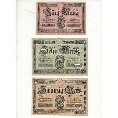 NOTGELD - DARMSTADT - 3 different notes - 5 & 10 & 20 mark (D006) [D006