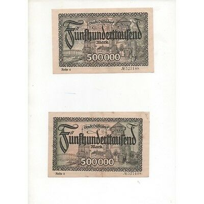 NOTGELD - DÜSSELDORF - 2 notes 500,000 mark - With & without characters (D08