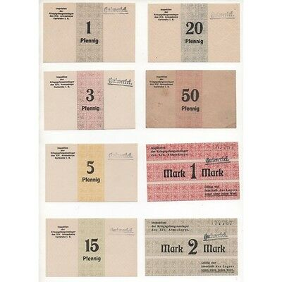 NOTGELD - KARLSRUHE KRIEGSGEFANGENENLAGER - 10 different notes (K022) -.K022 ALL