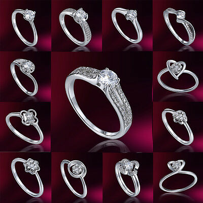 18k White Gold Filled Clear Sapphire Engagement Valentine's Ring Jewelry SZ7/8/9