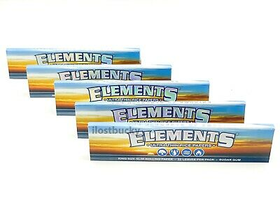 5 Elements Paper Ultra Thin Rice Rolling Papers King Size Slim 5 Packs