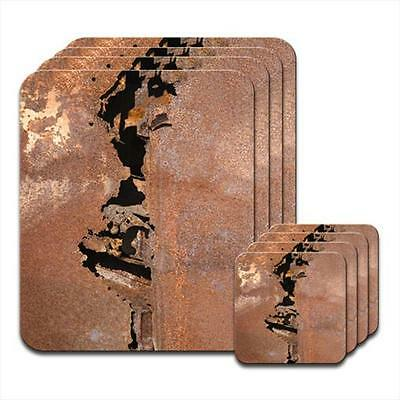 Rusted Metal Coaster & Placemat Set