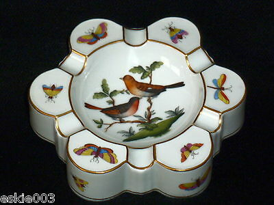 HEREND HUNGARY Vintage Porcelain Hand Painted Birds ASHTRAY 7700/RO  NR