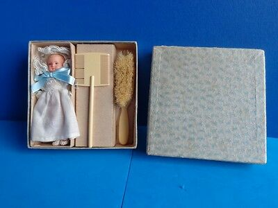Antique Vintage Baby Brush Comb Gift Set With Celluloid Baby Doll