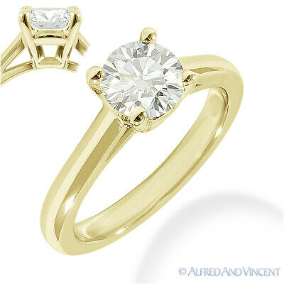 Round Brilliant Cut Moissanite 14k Yellow Gold 4-Prong Solitaire Engagement Ring