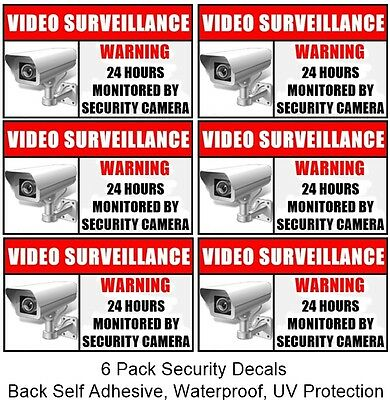 6 Window Door Security CCTV Camera Video Surveillance Warning Sticker Decal Sign