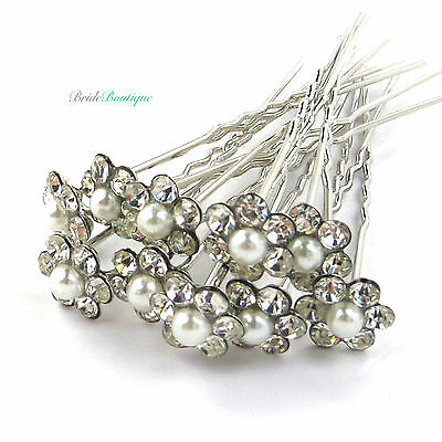 Bridal Wedding Silver Crystal Diamante & Pearl Flower Hair Pins Clips Grips HP01