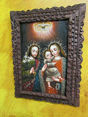 Sacred Family Oil Painting-Peruvian Folk Art-Religious-12x16-Peru-Carved-NEW