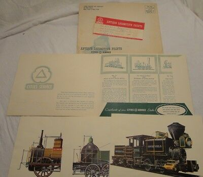 Cities Service Oil Company Advertising Promo Antique Locomotive Railroad Prints
