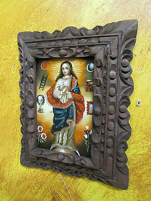 Immaculate Conception Oil Painting-Peruvian Folk Art-Religious-7x9-Peru-Carved