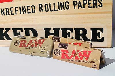 Two (2)RAW Natural Cigarette Rolling Papers -1 1/4-  with RAW Tin Storage Case