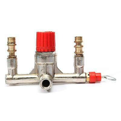 1Pc Air Compressor Double Outlet Tube Pressure Regulator Valve Fitting 1/8BSP