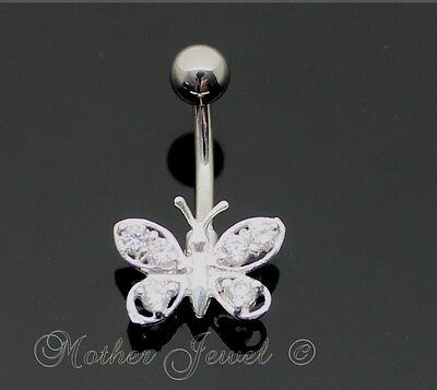Pretty 925 Sterling Silver Butterfly Clear Cz 316L Surgical Steel Belly Bar Ring