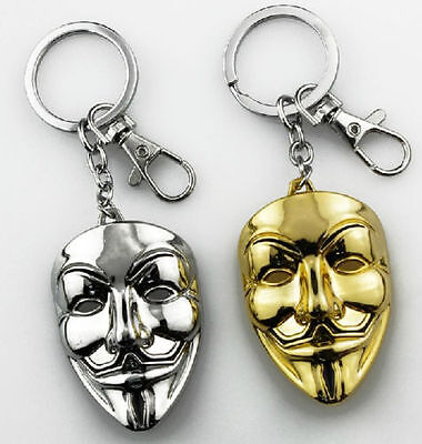 Gold V for VENDETTA Halloween Cosplay Guy Fawkes Anonymous mask keyring Keychain