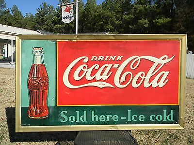 RARE OLD 1937 DRINK COCA-COLA SOLD HERE ICE COLD COKE BOTTLE COUNTRY STORE SIGN