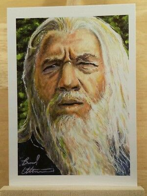 LORD OF THE RINGS HOBBIT GANDALF SKETCH CARD ACEO ART PRINT BY BRAD UTTERSTROM