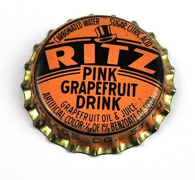 Vintage Ritz Pink Grapefruit Soda Kronkorken USA 1940er Bottle caps orange
