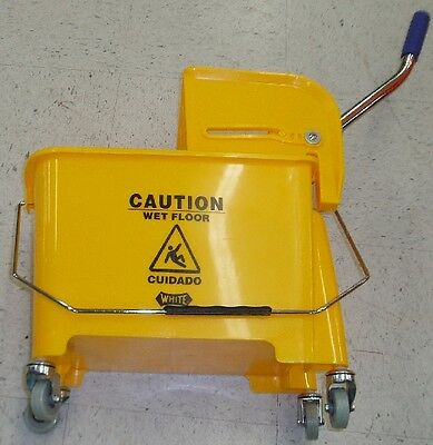 Yellow Miniature Compact Mop Bucket w/ Ringer - 21QT Lightweight