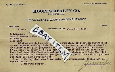 1918 ROCKPORT TEXAS J M Hoopes Realty Company ADVERTISING LETTERHEAD signed